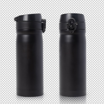 Black steel thermo water bottle mockup isolated