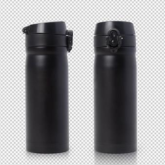 Изолированный макет черной стальной бутылки с термальной водой