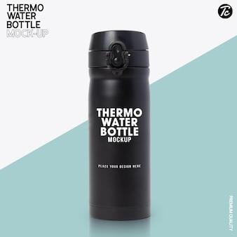 Макет черной стальной бутылки с термальной водой