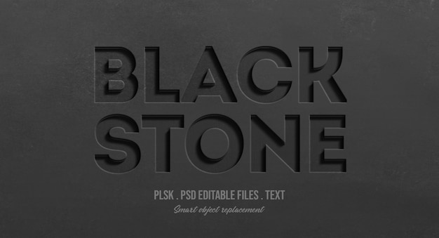 Black stone 3d text style effect mockup