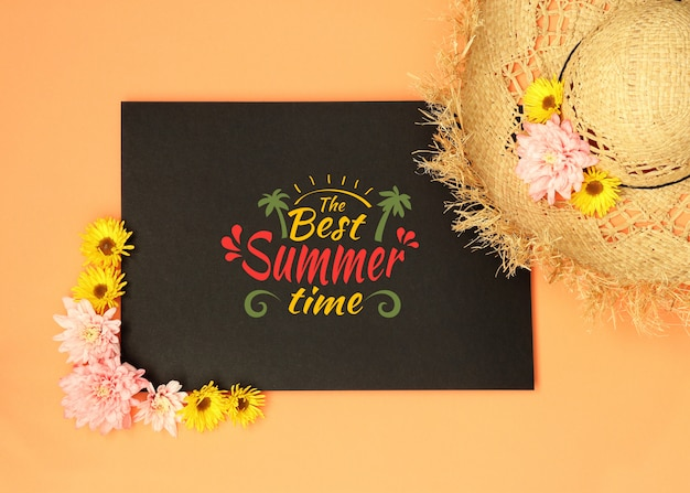Black summer mockup with straw hat and flowers
