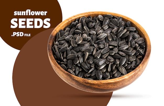 나무 그릇에 검은 해바라기 씨앗