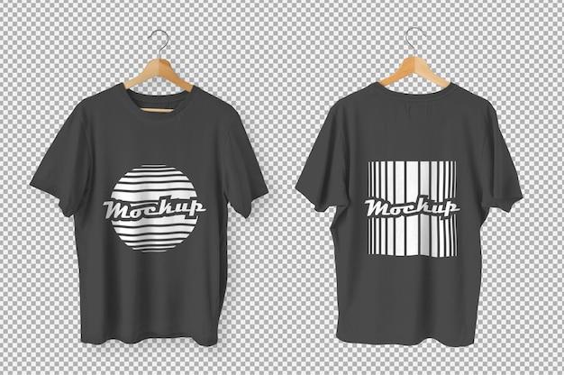 黒のtシャツの正面図と背面図のモックアップ