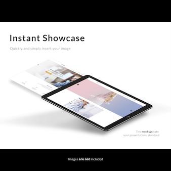Черный планшет на белом фоне макет