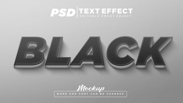 黒のテキスト効果の編集可能なテキストのモックアップ