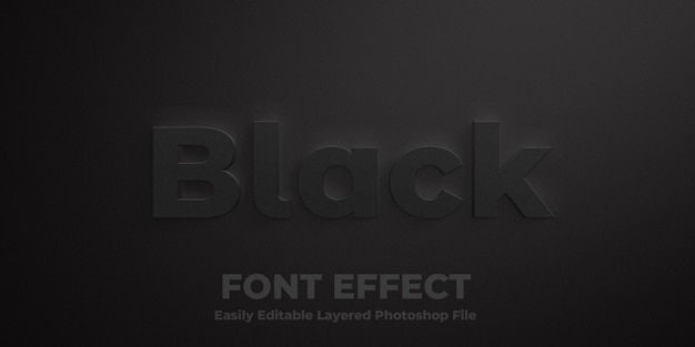 黒のテキストスタイルの効果のモックアップ