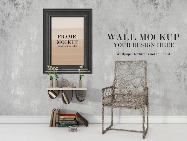 Black thick frame and wall mockup