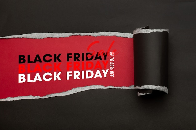 Black torn paper and the text black friday sale mockup template