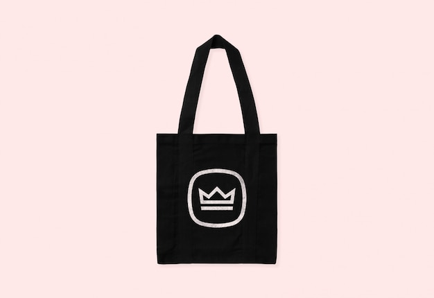 Black tote bag logo mockup