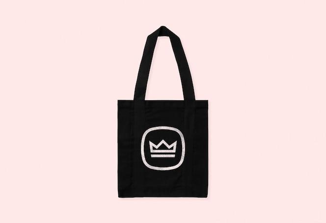 Black tote bag logo mockup