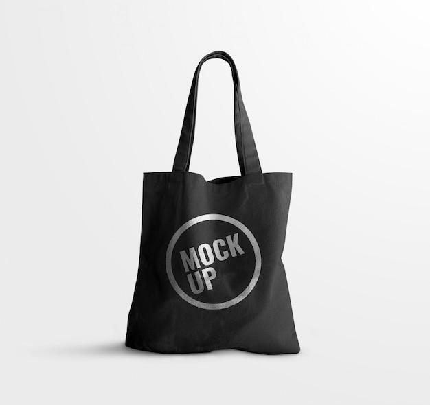 Black tote bag mockup realistic