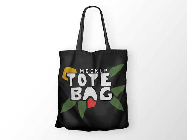 Black tote bag mockup