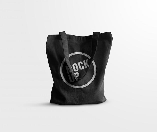 Black tote bag realistic mockup