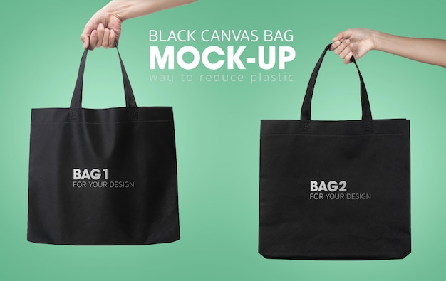 Black tote shopping bags mockup