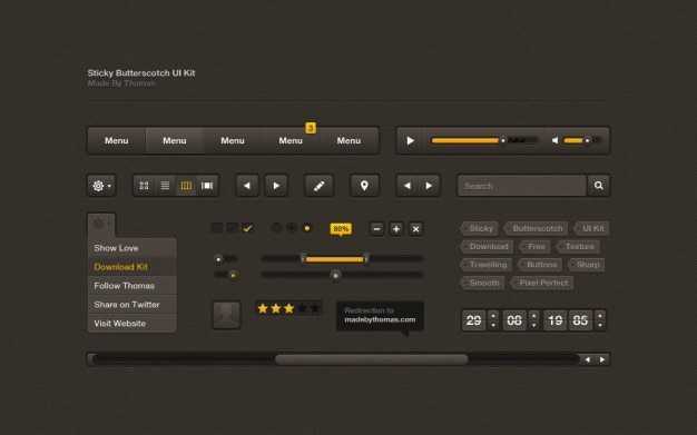 Black ui kit with tags