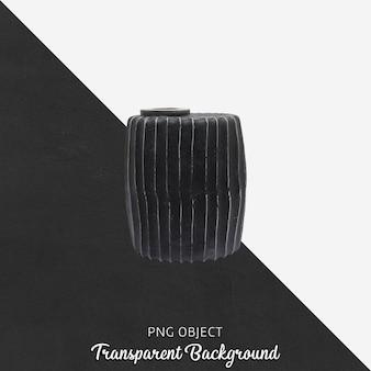 Black vase or flowerpot on transparent
