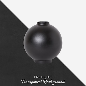 Black vase or flowerpot on transparent