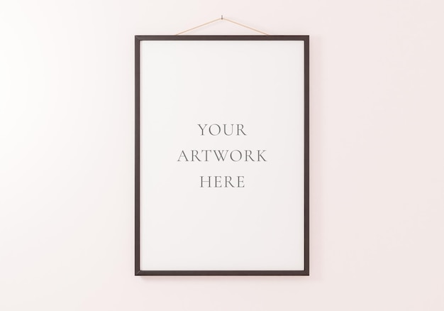 흰색 벽에 매달려 있는 검은색 수직 프레임 모형. 3d 렌더링.