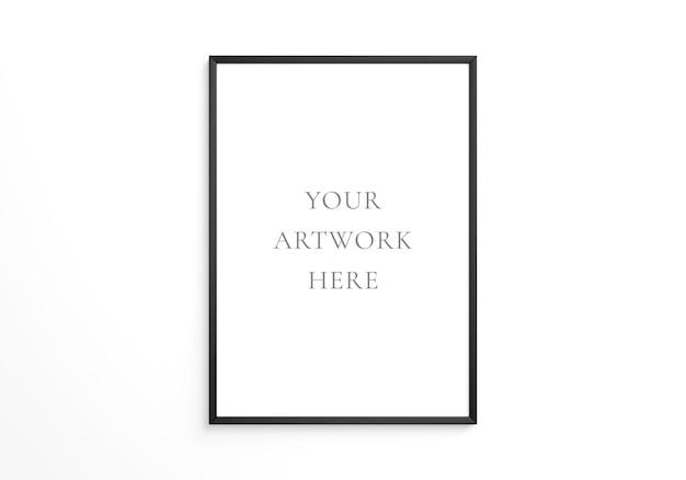 흰 벽에 검은색 수직 프레임 모형. 3d 렌더링.