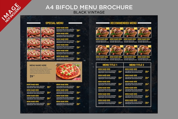 Black vintage bifold menu inside brochure template series