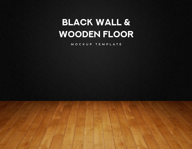 Black wall and timber wooden parquet panel plank floor
