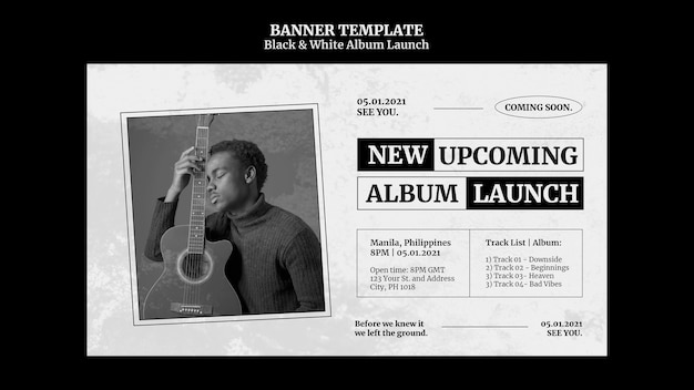 Black and white album launch banner