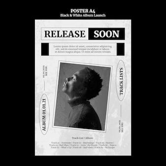 Poster di lancio dell'album in bianco e nero