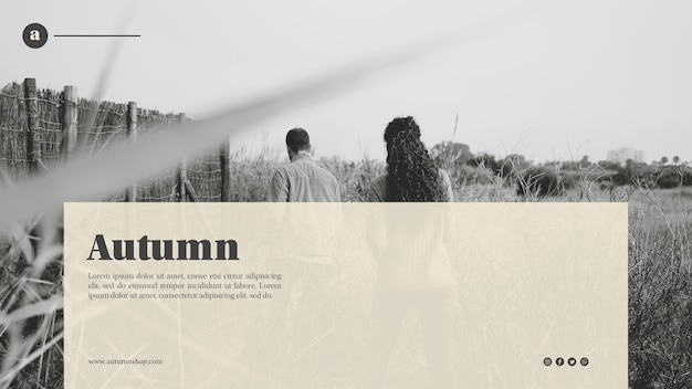 Black and white autumn web template