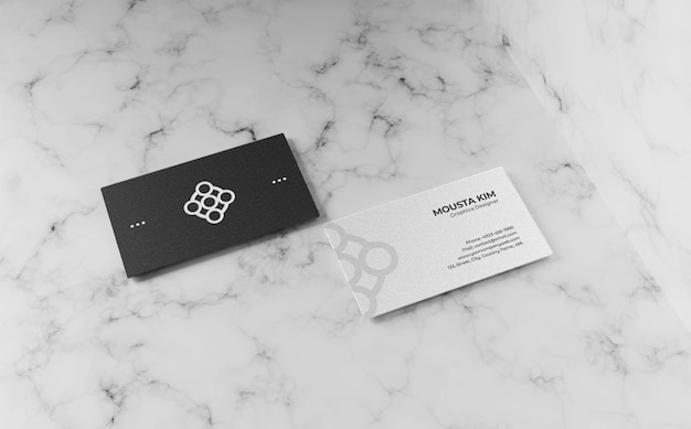 Black and white business card mockup design