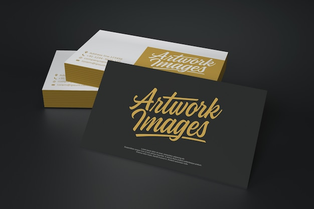 Black and white business card mockup with logotype