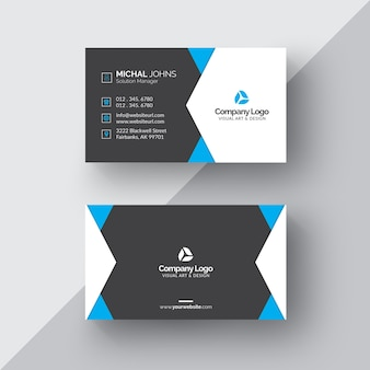 Black and white business card with blue details