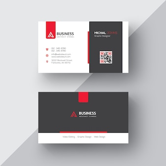 Black and white business card with red details