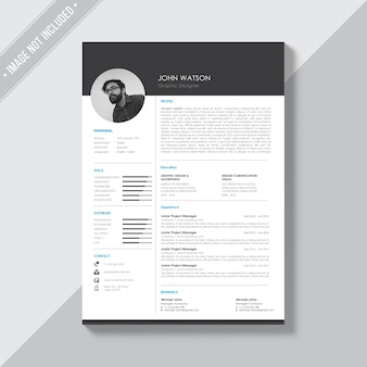 Black and white cv template