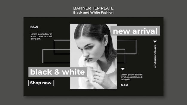 Black and white fashion horizontal banner