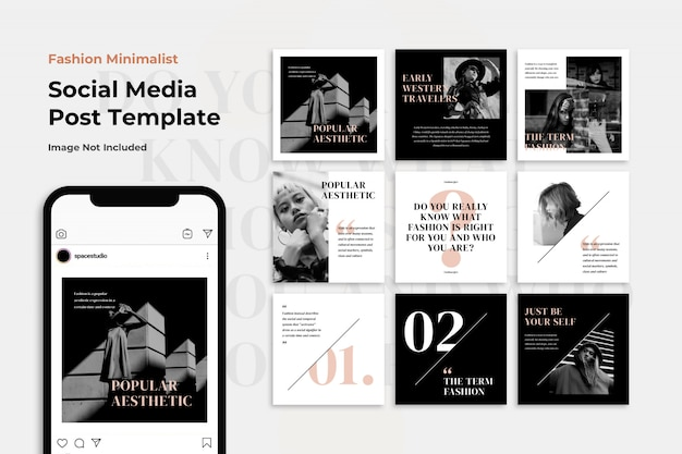 Black and white fashion sale instagram post template set