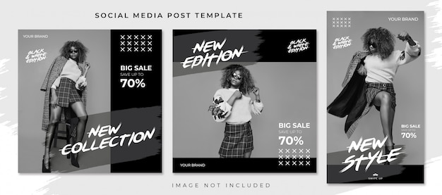 Black and white fashion sale style social media post template