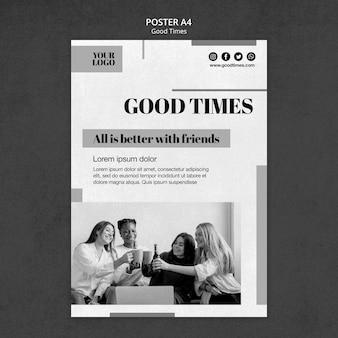 Modello di poster di bei tempi in bianco e nero