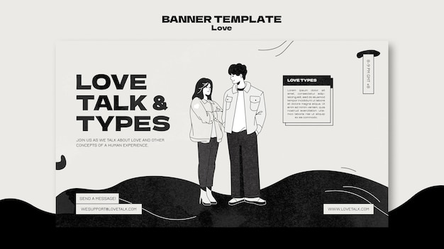 Black and white love banner template