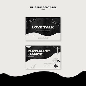 Black and white love business card
