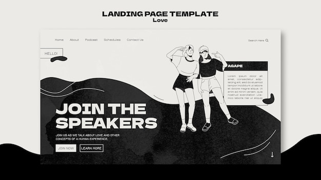 Black and white love landing page template