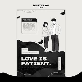 Modello di stampa d'amore in bianco e nero