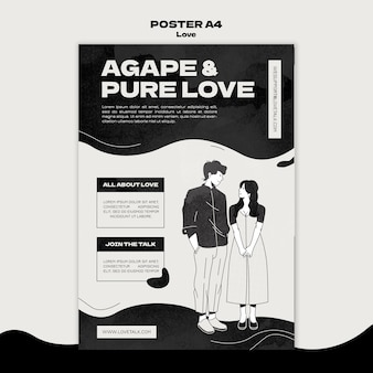 Black and white love print template