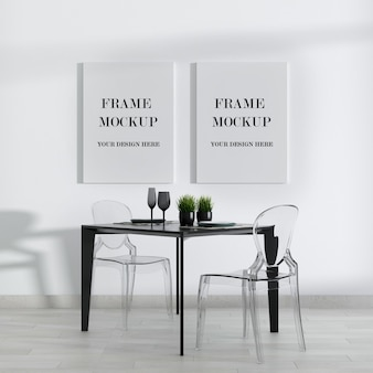 Black and white modern room double canvas frame mockup