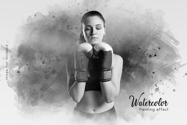 Black and white painting photo effect Premium Psd