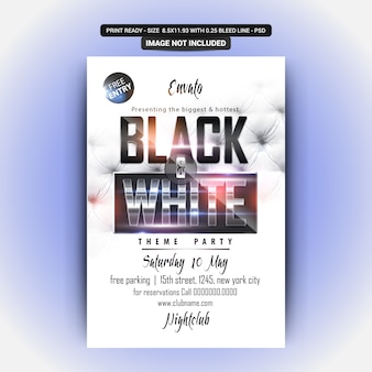 Black and white party flyer