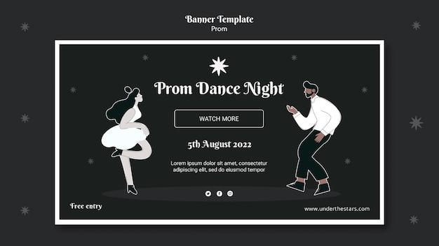 Modello di banner per il ballo di fine anno in bianco e nero