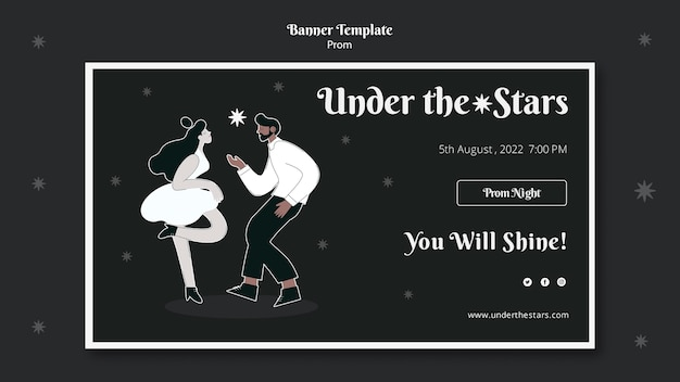 Black and white prom banner template