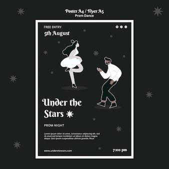Modello di stampa del ballo di fine anno in bianco e nero Psd Gratuite