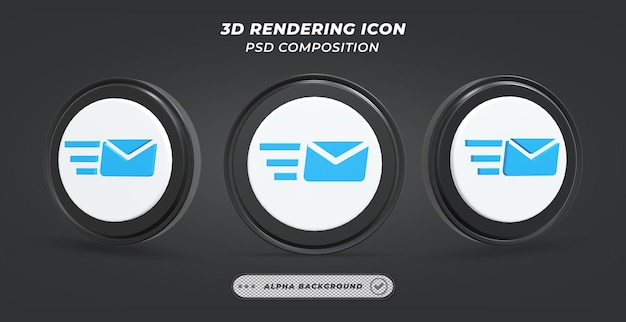 Black and white sending mail icon in 3d rendering