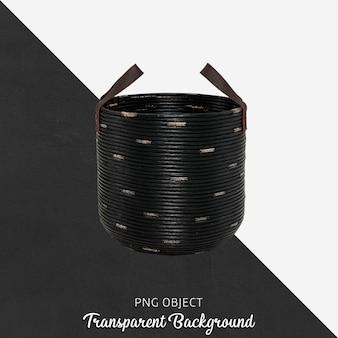 Black wicker basket on transparent